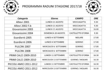 PROGRAMMA RADUNI STAGIONE 2017