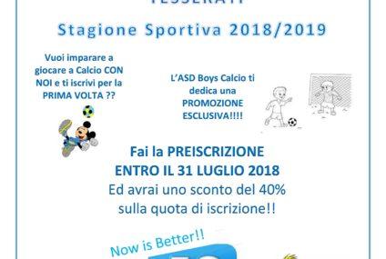 Iscrizioni Stagione Sportiva 2018/2019