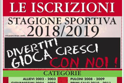 ISCRIZIONI APERTE! Stagione Sportiva 2018/2019