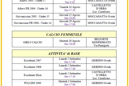 Date Raduni Stagione Sportiva 2019/2020