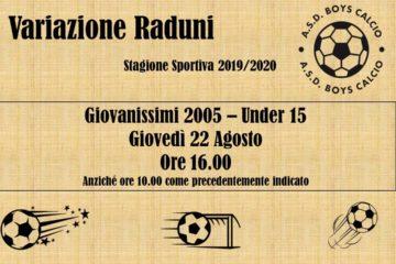 Variazione Raduni Stagione Sportiva 2019/2020